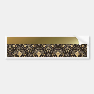 Gold damask and Red Bumper Sticker