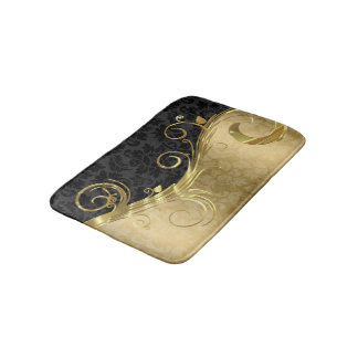Gold Damask And Swirl And Black Damask Bath Mat