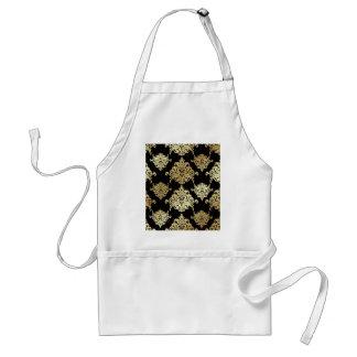 gold,damask,antique,vintage,pattern,elegant,black, standard apron