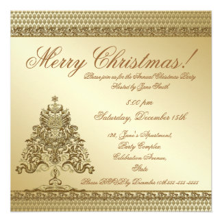Gold damask custom photo Christmas tree invitation