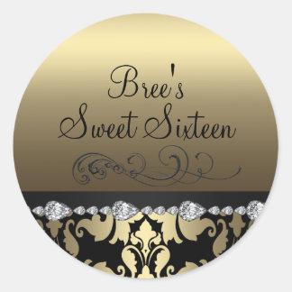 Gold Damask & Diamond Sweet 16 Sticker