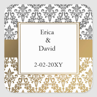 gold damask envelopes seals square sticker