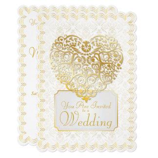 Gold Damask Filigree & Heart Wedding Invitation