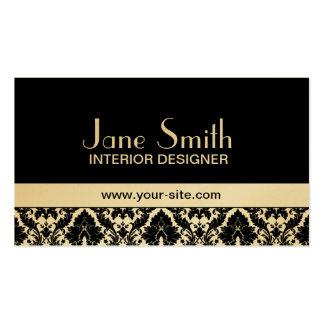 Gold Damask Floral Elegant Stylish Classy Business Card