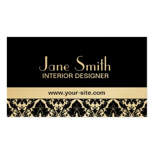 Gold Damask Floral Elegant Stylish Classy Business Card