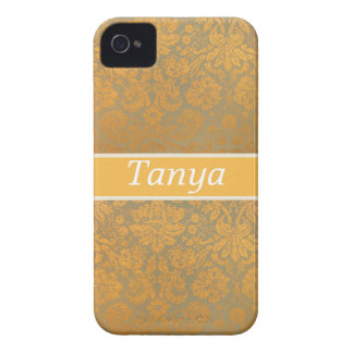 Gold Damask Floral Personalized Blackberry Case