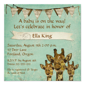 "Gold Damask Giraffes  Blue Baby Invitation 5.25"" Square Invitation Card"