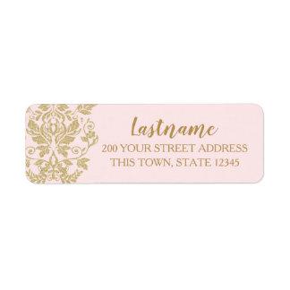 Gold Damask Glam Pink Return Address Label