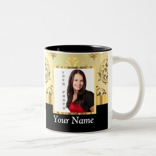 Gold damask instagram photo template coffee mugs