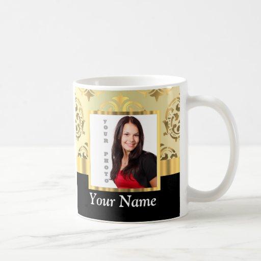 Gold damask instagram photo template coffee mug