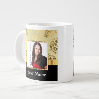 Gold damask instagram photo template jumbo mug