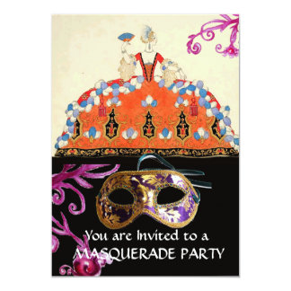 GOLD DAMASK MASK AND ORANGE LADY MASQUERADE PARTY CARD