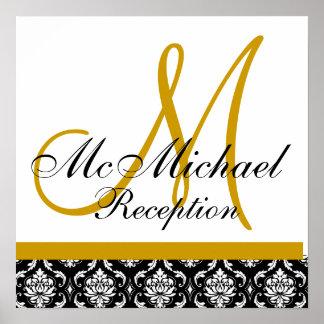 Gold Damask  Monogram Wedding Reception Poster