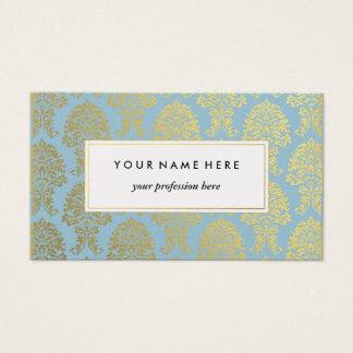 Gold Damask on Light Blue Pattern Business Card