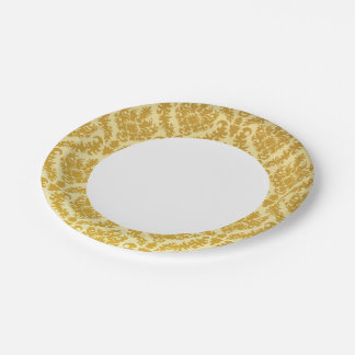 Gold damask paper plate