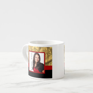 Gold damask photo template espresso mug
