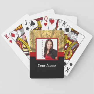 gold damask photo template playing cards