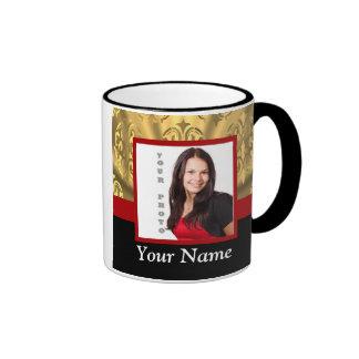 Gold damask photo template ringer mug