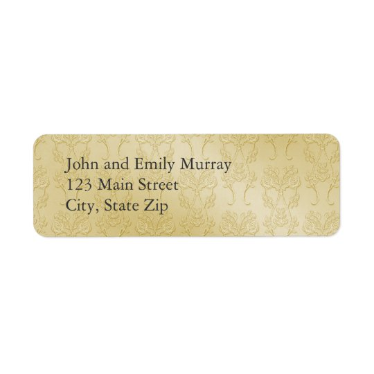 Gold Damask Return Address Labels