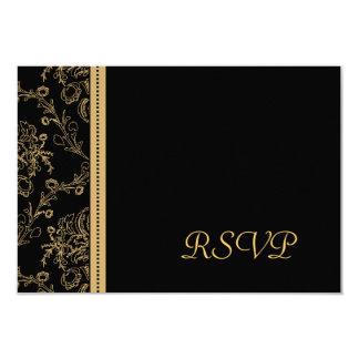 Gold Damask RSVP Card 9 Cm X 13 Cm Invitation Card