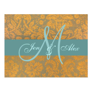 Gold Damask Save the Date Postcard | Blue