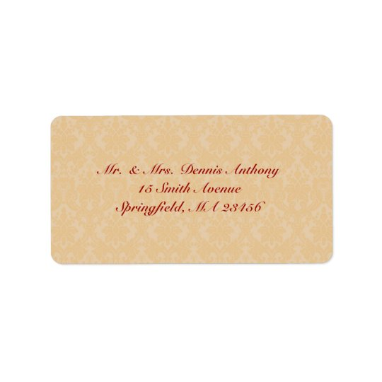 Gold Damask Shipping Address Label