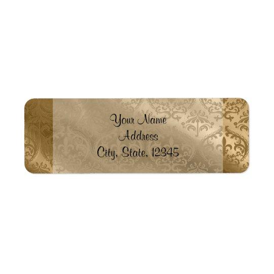 Gold Damask Silk Posh Wedding Label Return Address Label