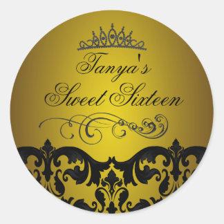 Gold Damask Swirl Sweet 16 Envelope Sticker seal