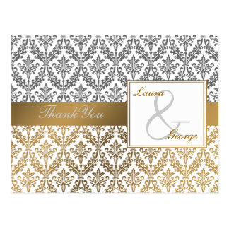 gold damask wedding Thank You Postcard