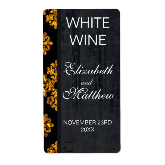 Gold Damask Wedding Wine Labels