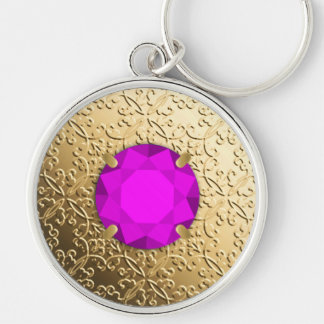 Gold Damask with a faux amethyst gemstone Silver-Colored Round Key Ring