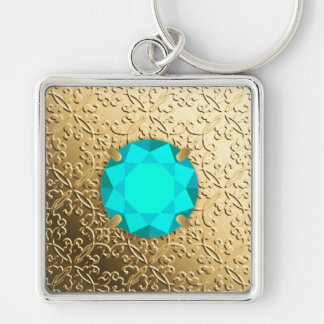 Gold Damask with a faux aquamarine gemstone Silver-Colored Square Keychain