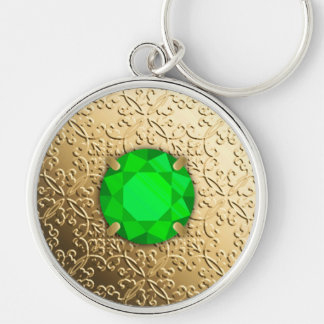 Gold Damask with a faux emerald gemstone Silver-Colored Round Key Ring