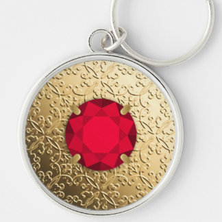 Gold Damask with a faux garnet gemstone Silver-Colored Round Key Ring