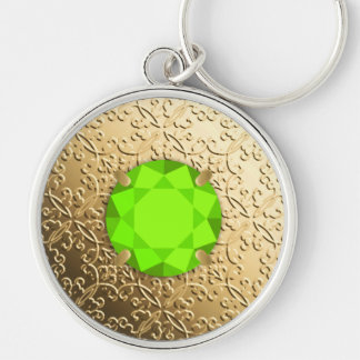 Gold Damask with a faux peridot gemstone Silver-Colored Round Key Ring