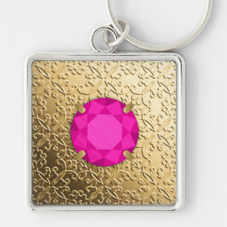 Gold Damask with a faux pink tourmaline gem Silver-Colored Square Keychain