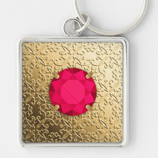 Gold Damask with a faux ruby gemstone Silver-Colored Square Key Ring