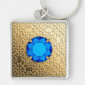 Gold Damask with a faux sapphire gemstone Silver-Colored Square Keychain