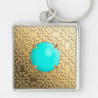 Gold Damask with a faux turquoise gemstone Silver-Colored Square Key Ring
