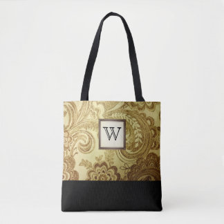 Gold Damask with Black Monogram Tote Bag