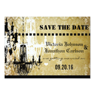 Gold Damask Your Photo on back Chandelier Wedding Card