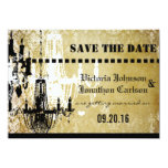 Gold Damask Your Photo on back Chandelier Wedding Custom Invite