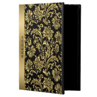 Gold Damasks On Black Background Monogram iPad Air Case