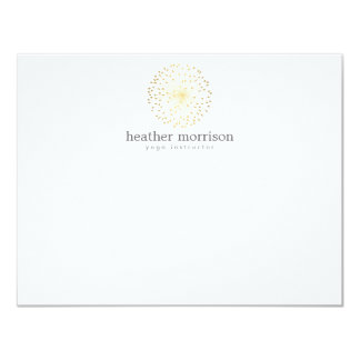 GOLD DANDELION STARBURST LOGO on WHITE Notecard