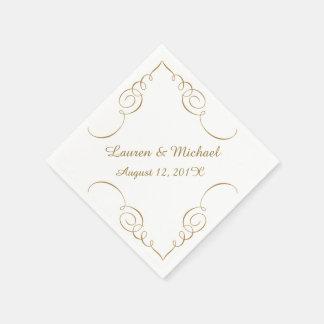Gold Dark Swirl Border Personalized Wedding Disposable Serviettes