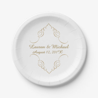 Gold Dark Swirl Border Personalized Wedding Paper Plate