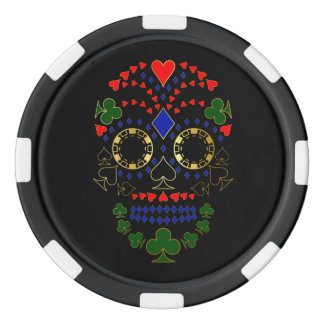Gold Day of the Dead Poker Skull Chips