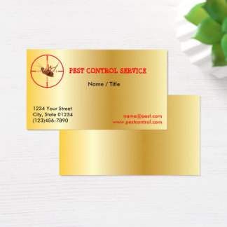 Gold Dead Roach Pest Service 1 Sided Business Card