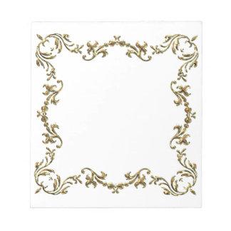 Gold Decorative Floral Border Notepad