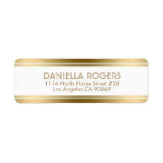 Gold Decorative Stripes Geometric Modern Design Return Address Label
